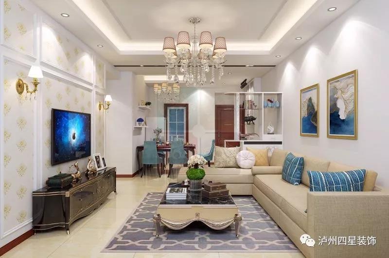 搭配凸出的石膏线造型和金色欧式壁灯,整体效果轻奢有质感; 原始结构